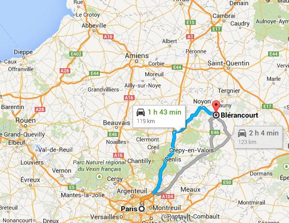 Itinéraire pour Blérancourt